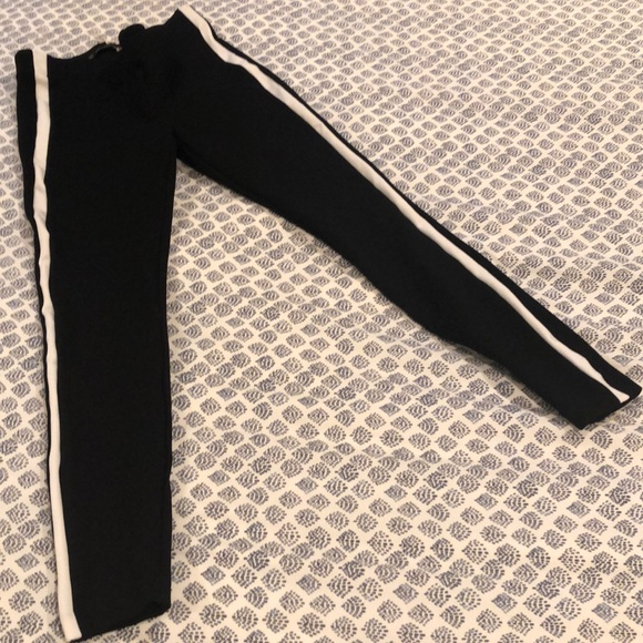 Zara Pants - Black stretchy pants with athletic stripe.